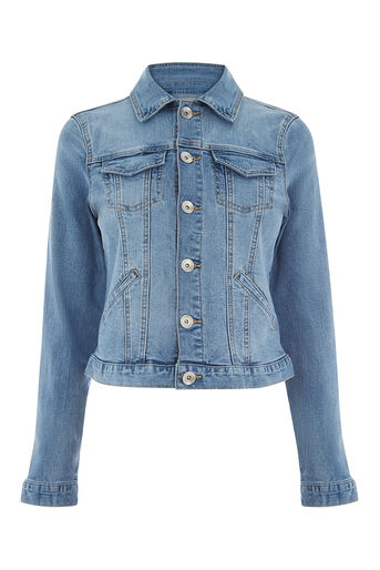 Oasis, PALE WASH WILLOW DENIM JACKET Light Wash 0