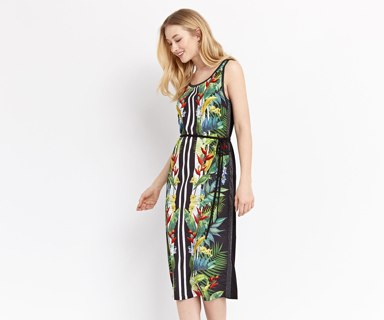 Oasis, tropical lurex trim midi Multi Black 1
