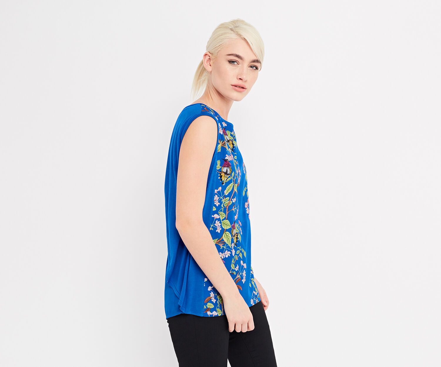 Oasis, topaz place woven front top Multi Blue 1