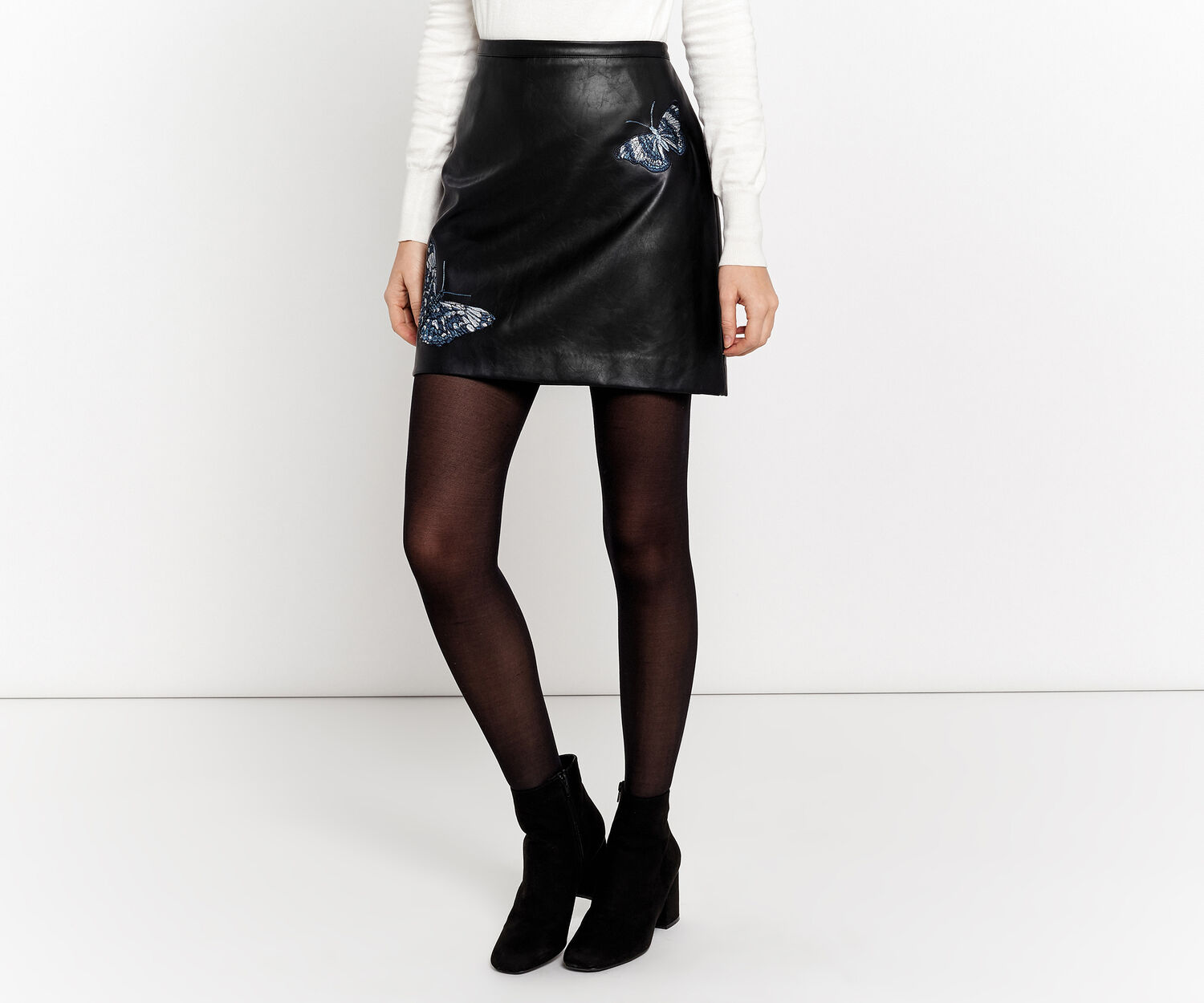 Oasis, FOREST FAUX LEATHER SKIRT Black 1