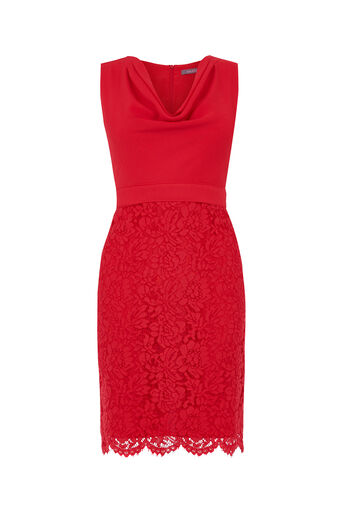 Oasis, Petite Cowl Neck Dress Rich Red 0