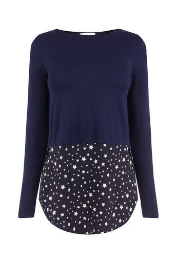Oasis, STAR HEM CREPE SWEAT Navy 0