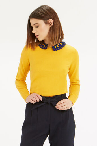 Oasis, The Sweet Collared Sweater Ochre 1