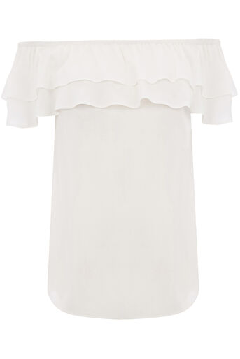 Oasis, VISCOSE BARDOT TOP Off White 0