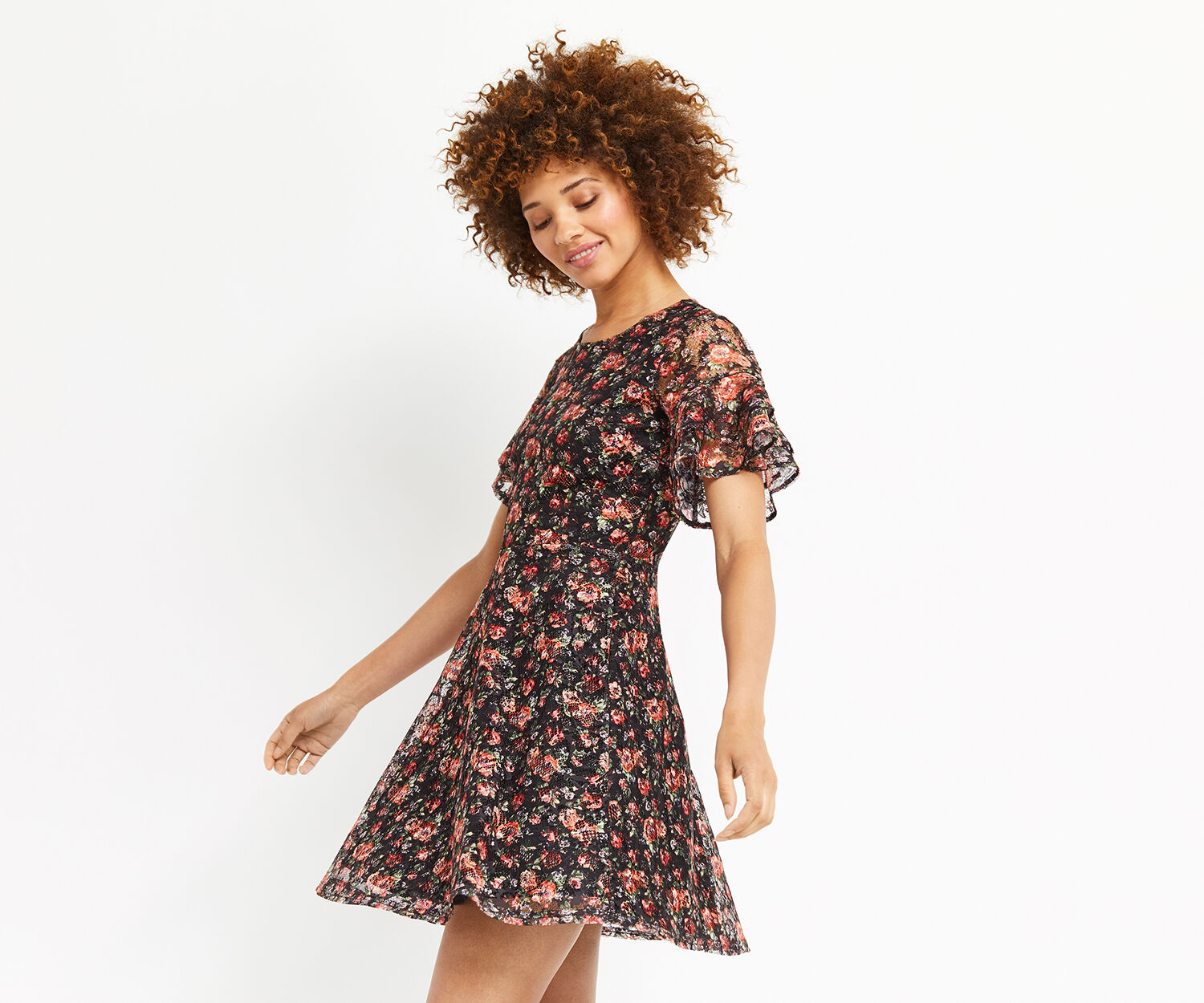 Oasis, DOUBLE LAYER SLEEVE ROSE DRESS Black 1