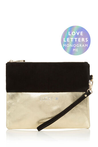 Oasis, MONOGRAM FLOSSIE CLUTCH BAG Black 0