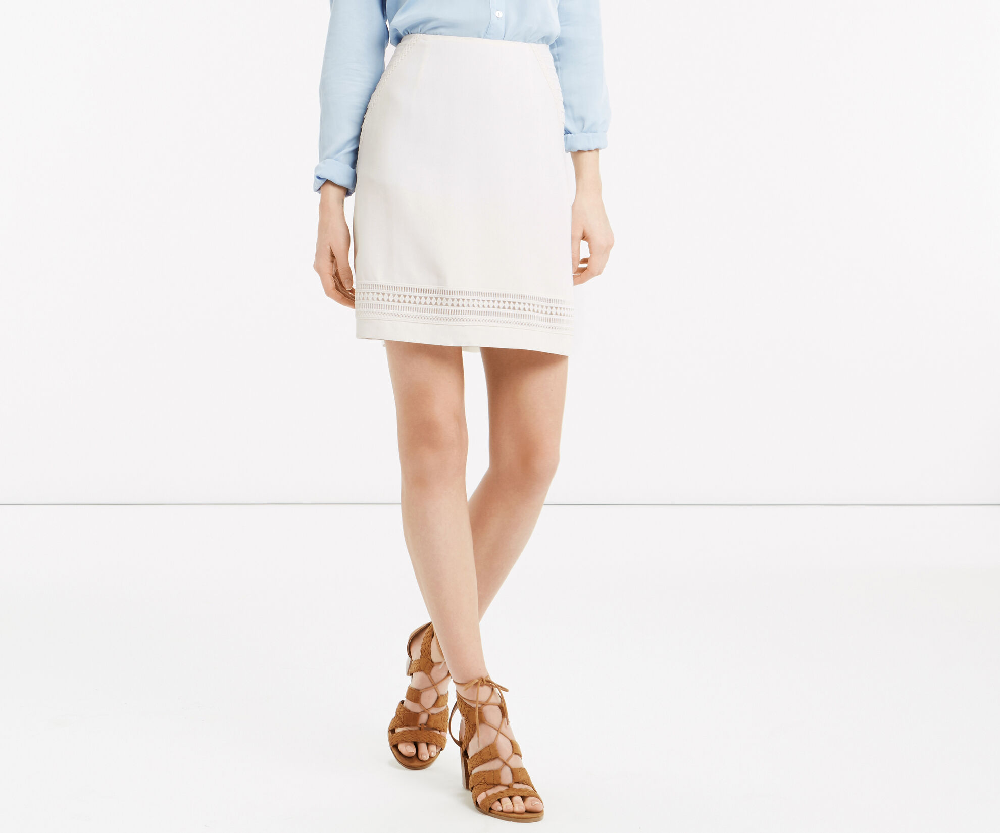 Oasis, Lace Trim Skirt White 1