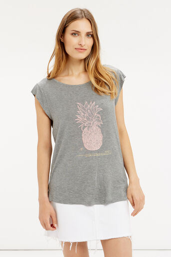 Oasis, Embroidered Pineapple T-Shirt Mid Grey 1