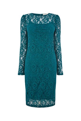 Oasis, LACE PUFF SLEEVE DRESS Turquoise 0