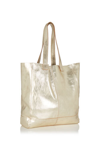 Oasis, Unlined Leather Shopper Gold 2