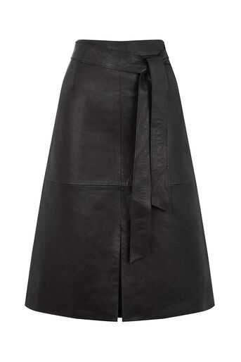 Oasis, LEATHER A LINE MIDI SKIRT Black 0