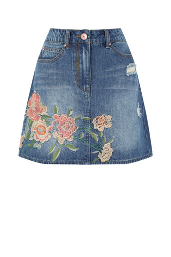 Oasis, The Falls Embroidered Skirt Denim 0