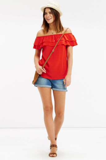Oasis, Frill Bardot Top Mid Red 2