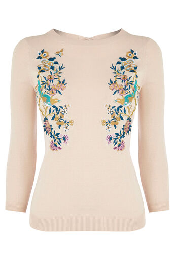 Oasis, V&A EMBROIDERED JUMPER Pale Pink 0