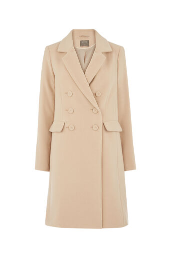 Oasis, CLARA DOUBLE BREASTED CAR COAT Mid Neutral 0