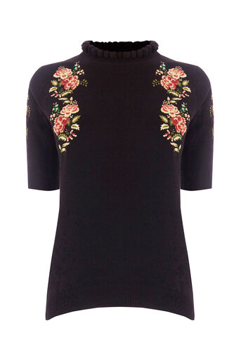 Oasis, EMBROIDERED FRILL KNIT Black 0
