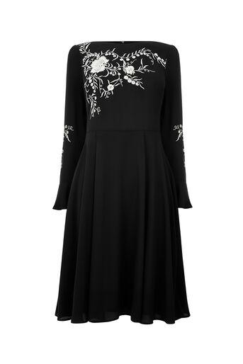 Oasis, LONG KIMONO EMBROIDERED DRESS Black 0