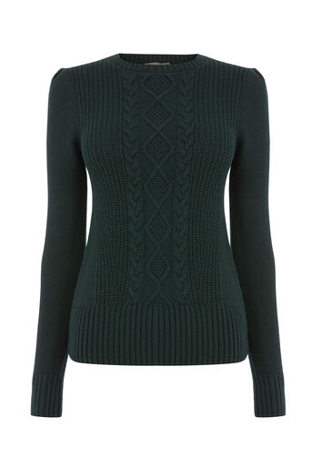 Oasis, Laura cable knit Deep Green 0