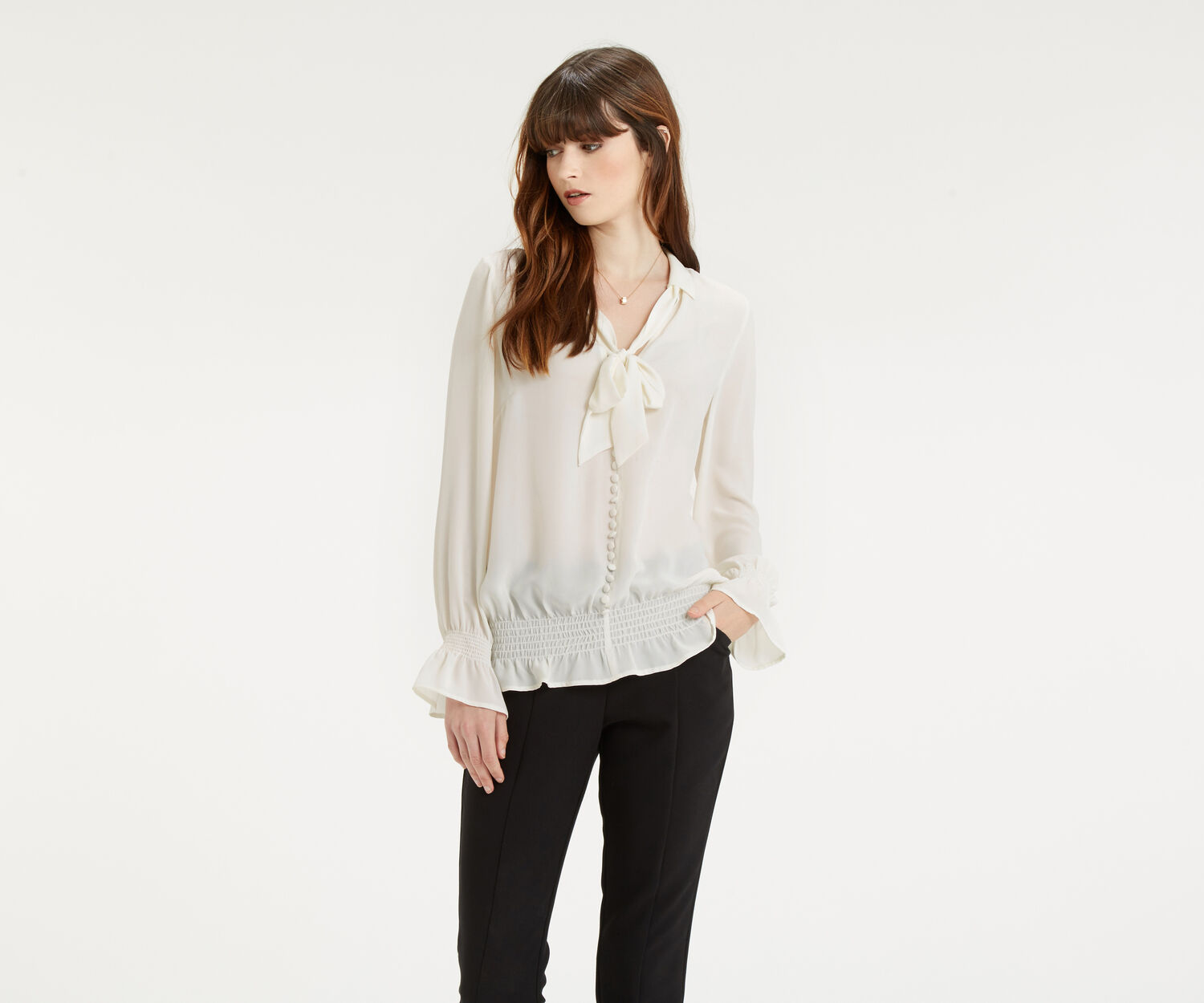 Oasis, Pussybow Blouse Off White 1