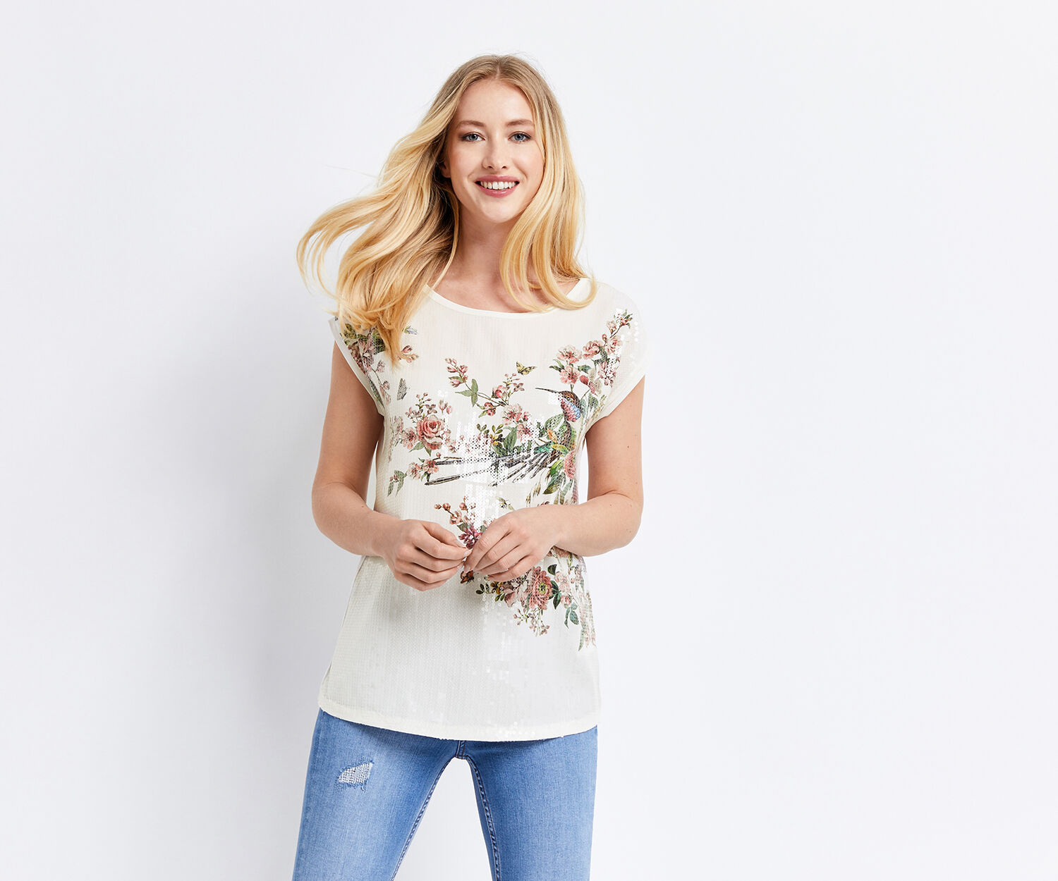 Oasis, MAYBELLE SEQUIN FRONT TEE Multi 1
