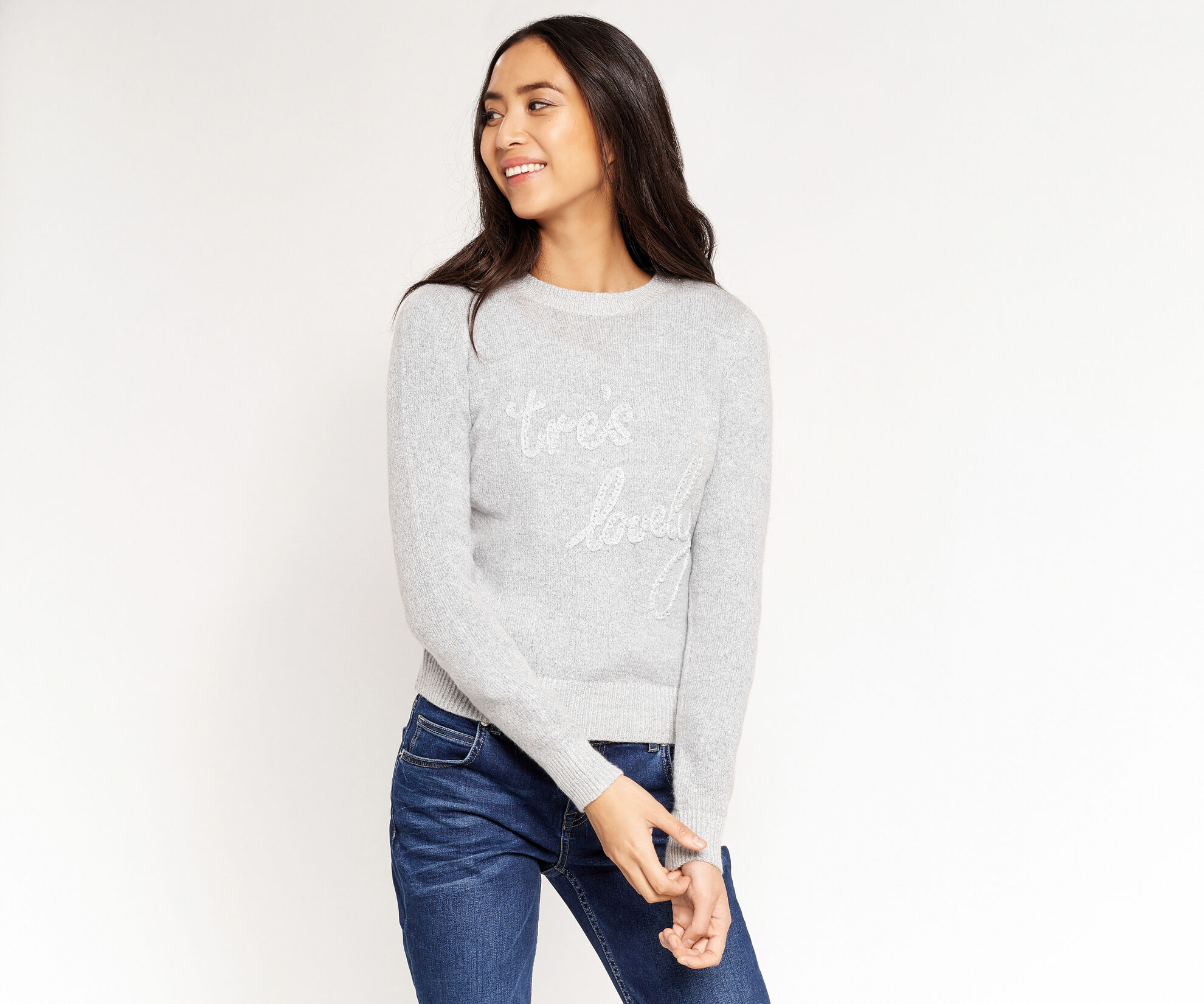 Oasis, Tres lovely knit jumper Mid Grey 1