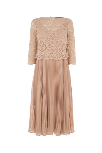 Oasis, LACE TOP PLEATED MIDI DRESS Mid Pink 0