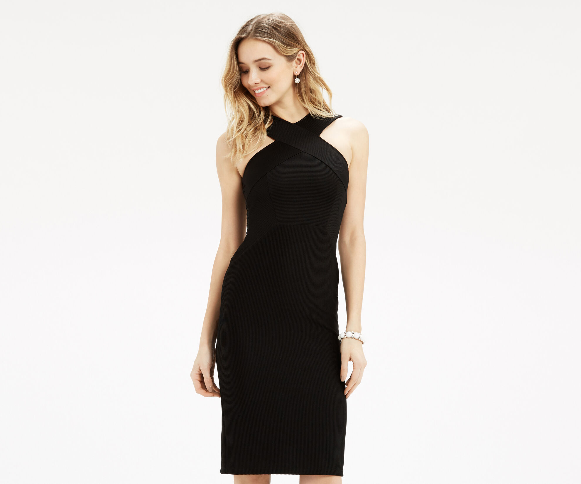 Oasis, Cross Front Rib Tube Dress Black 1
