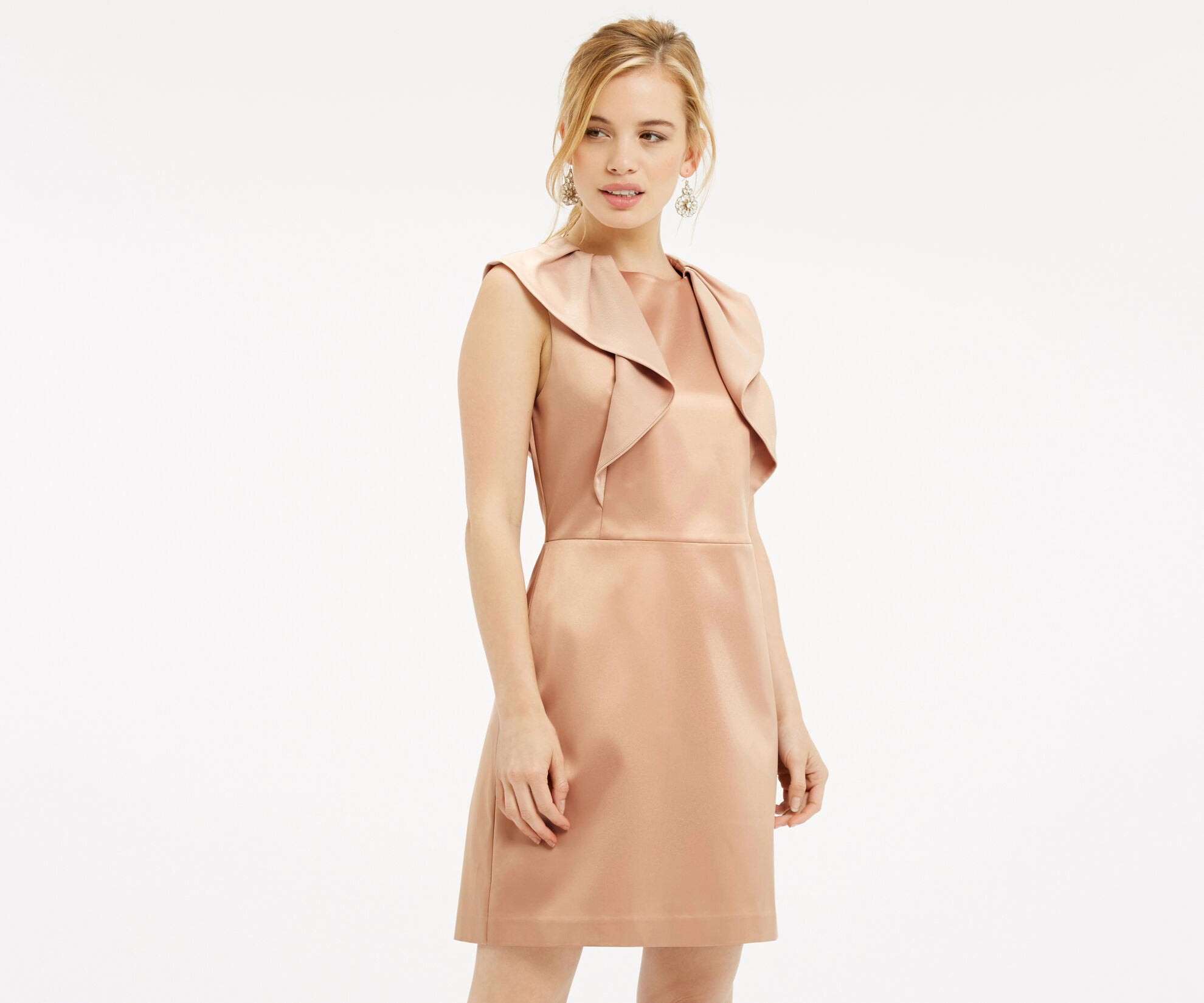 Oasis, PETITE SATIN SHIFT DRESS Light Neutral 1
