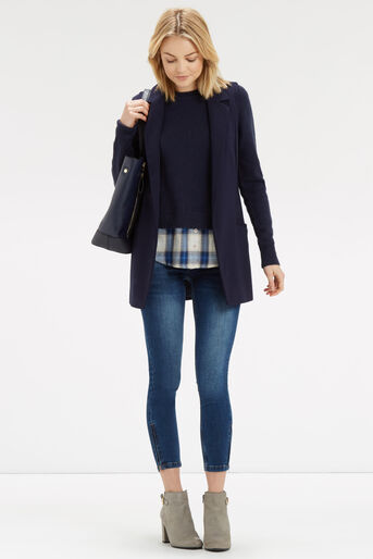 Oasis, Check Shirt Tails Jumper Navy 2
