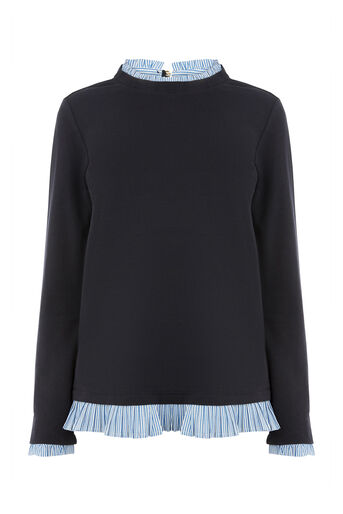 Oasis, STRIPE PIE CRUST SWEAT Navy 0