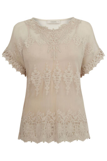Oasis, Mesh Lace Top Off White 0