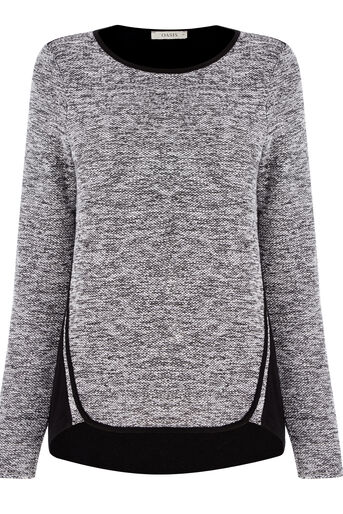 Oasis, Tweed Patched Sweater Black 0