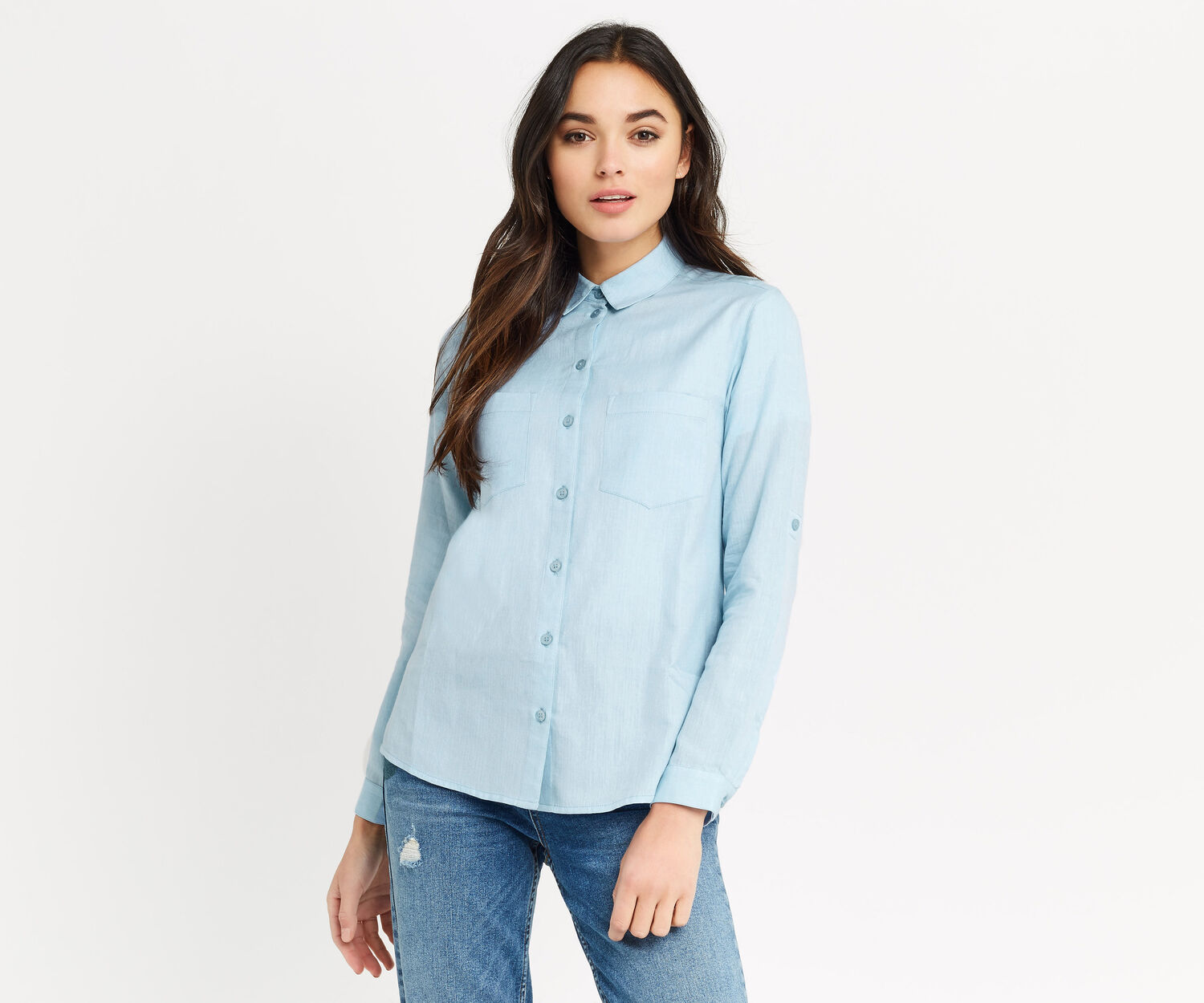 Oasis, HERRINGBONE SHIRT Light Blue 1