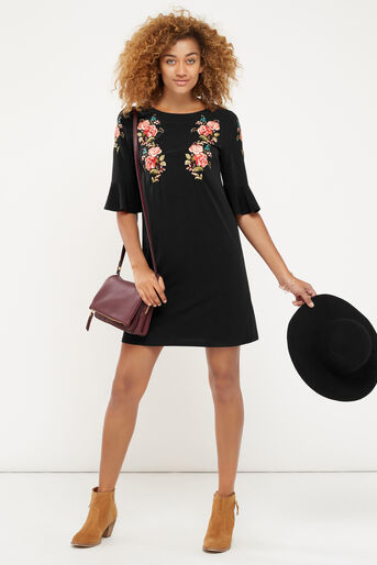 Oasis, EMBROIDERED FLUTE SLEEVE DRESS Multi 2