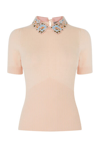 Oasis, EMBROIDERED COLLAR KNIT Powder Pink 0