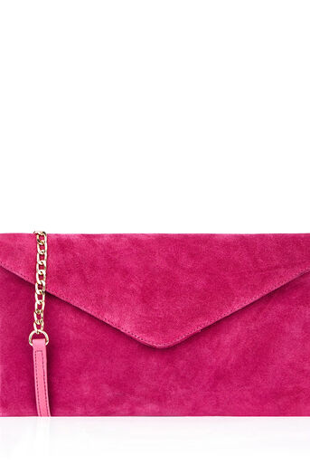 Oasis, SUEDE JESS ENVELOPE CLUTCH Bright Pink 0