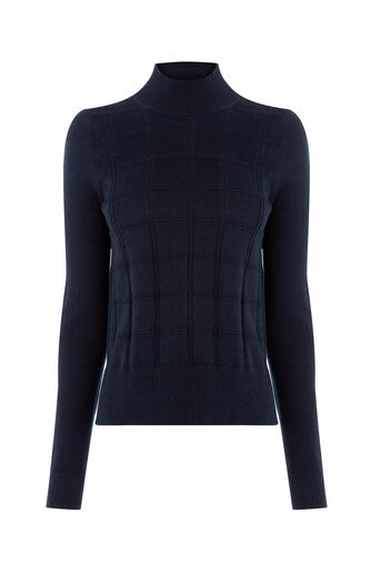 Oasis, Check Funnel Neck Jumper Navy 0