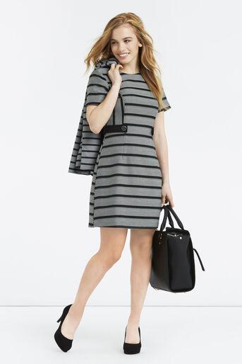 Oasis, Petite Stripe Shift Dress Black and White 2