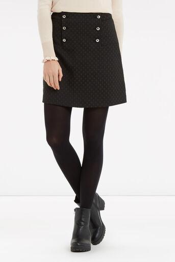 Oasis, 60s Button A-Line Skirt Black 1