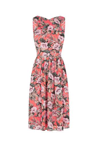 Oasis, Tropical Dress - Longer Length Multi Orange 0