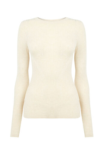 Oasis, LONG-SLEEVED RIB TOP Light Neutral 0
