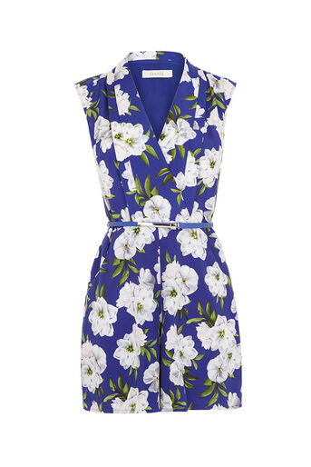 Oasis, WILD FLORAL PLAYSUIT Multi Blue 0
