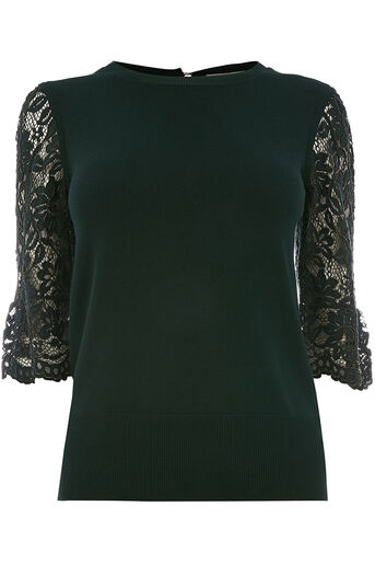 Oasis, Lace fluted sleeve Deep Green 0