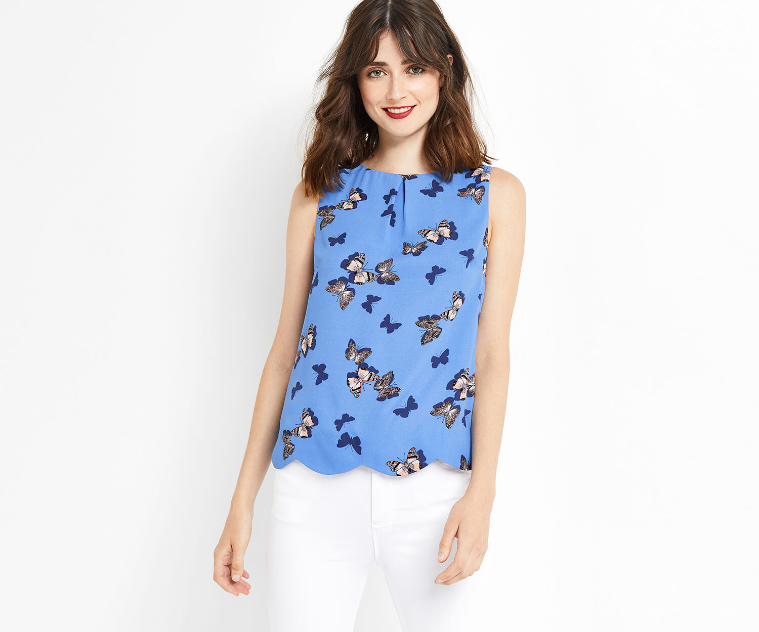Oasis, BUTTERFLY SCALLOP SHELL TOP Multi Blue 1