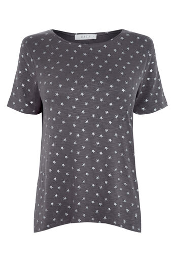 Oasis, Star Print Tee Dark Grey 0