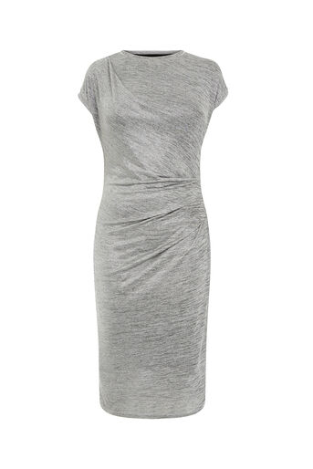 Oasis, FOIL DRAPE DRESS Pale Grey 0