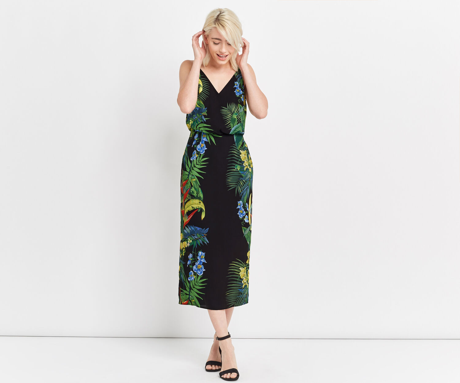Oasis, TROPICAL PLACEMENT MIDI DRESS Multi Black 1