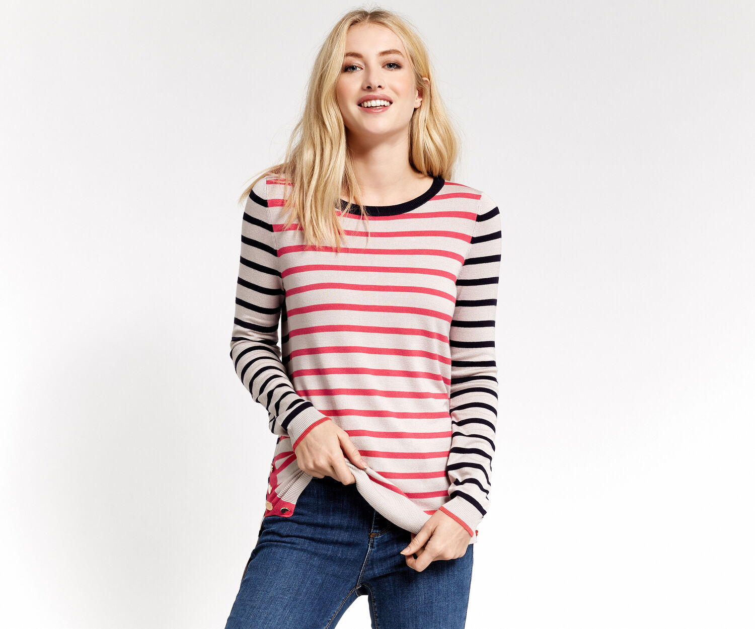 Oasis, STRIPE BUTTON SWEATER Multi 1
