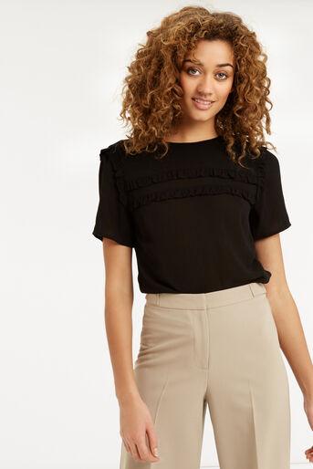 Oasis, Frill Detail T-Shirt Black 1