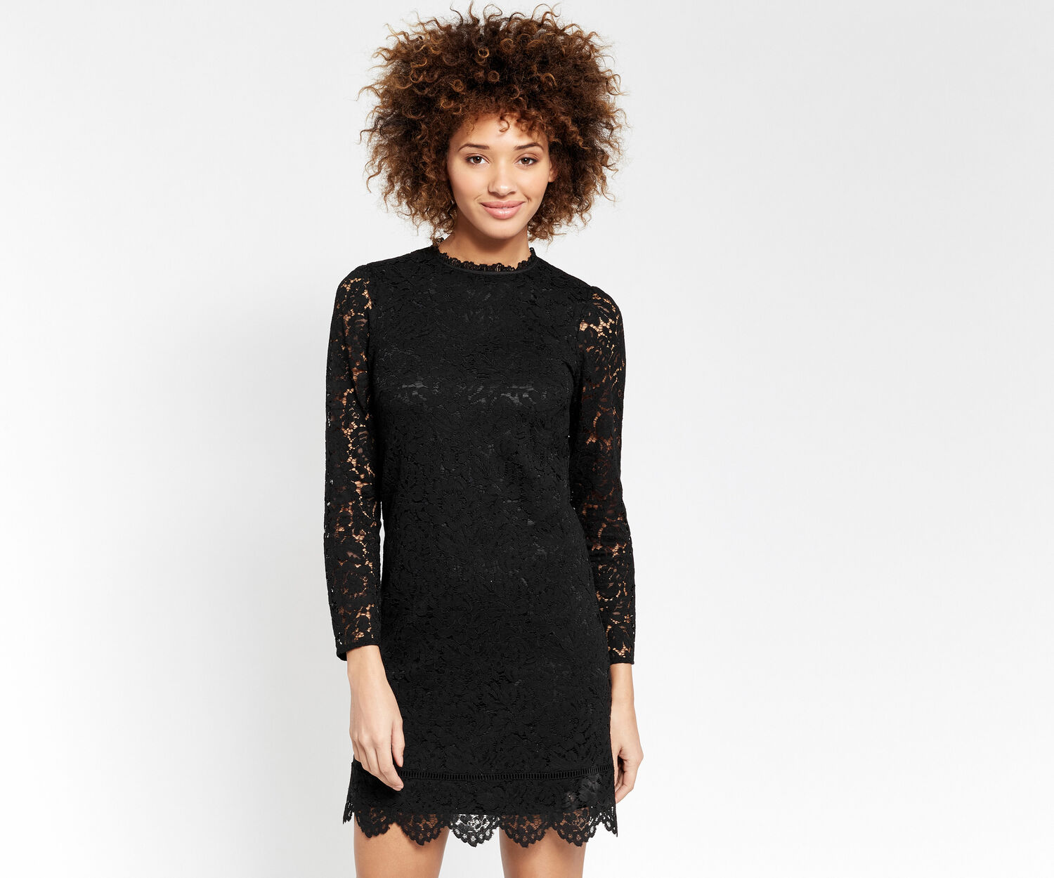 Oasis, SCALLOP LACE DRESS Black 1